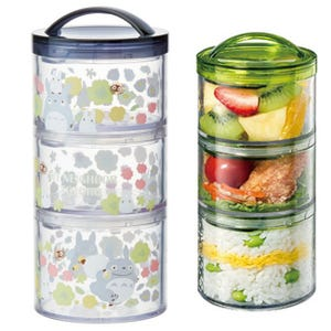"Stackable Totoro 3-Chamber Cylinder Lunch Carrier ""My Neighbor Totoro"", Skater Bento"