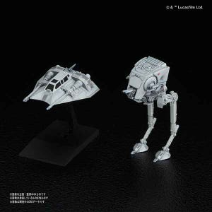 "008 AT-ST & Snowspeeder ""Star Wars"", Bandai Star Wars Bandai Vehicle Plastic 1/144 Model"