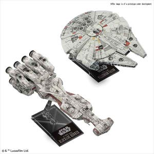 "1/1000 Blockade Runner & 1/350 Millennium Falcon ""Star Wars"", Bandai Star Wars Plastic Model"