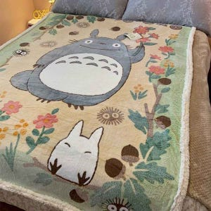"Totoro in the Sunny Forest Plush Blanket (Large) ""My Neighbor Totoro"", Marushin Blanket"